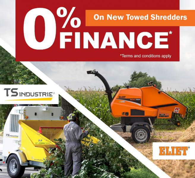 0% Finance available on New Towed Shredders