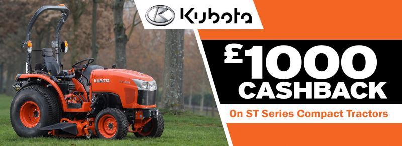 £1000 Cashback on Kubota ST Tractors
